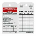 NMC RPT26 Fire Extinguisher Recharge & Inspection Record Tag, Unrippable Vinyl,