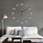 DIY 3D Large Frameless Wall Clock Mirror Number Sticker Modern Home Decal Decor