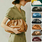Soft Large Real Leather Ruched Clutch Pouch Shoulder Bag Crossbody Evening Party