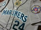 Brand New! GREY! Seattle Mariners #24 Ken Griffey Jr.w/hof patch stitched Jersey on Ebay