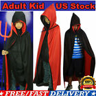Adult / Kid Halloween Costume Witch Wizard Robe Cape Cloak Cosplay Dress Up
