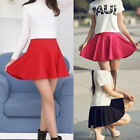 Women Casual High Waist Skater Short Skirt Plain Flared Pleated Sexy Mini Skirt