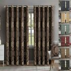 Heavy Jacquard Eyelet Ring Top Fully Lined Curtains With Tie Backs 90x90 66x72