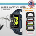 Apple Watch Series 5 Shockproof Silicone Bumper Case Glass Screen Cover 40/ 44mm