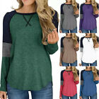 Womens Long Sleeve Crew Neck Tunic Tops Color Block Pullover Loose Tops Blouse