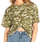 Women's Short Sleeve Camo T-Shirt Tee Twisted Front Crop Top Sporty Military