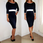 Ladies Womens Sexy Office Formal Pencil Dress Work Bodycon Size 8 10 12 14 16 18