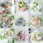 9 Heads Real Touch Silk Artificial Flowers Bridel Wedding Bouquet Home Decor Uk
