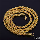 """Men Women 18k Gold Filled 4mm Link Chain Flash Twisted Necklace Jewelry Xmas 16"""""""