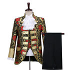 Mens 3 Piece Suit Brocade Embroidered Jacket Vest Trousers Prom Party Show Retro