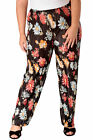 New Womens Plus Size Trousers Ladies Floral Print Crinkle Bottoms Wide Leg Sale