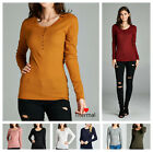 NEW Women Thermal Mini Waffle Long Sleeve CREW NECK HENLY T-Shirt Top S-L