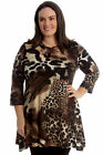 New Womens Plus Size Top Ladies Tiger Animal Print Swing Tunic Dress Abstract
