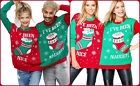 Men Women Mr & Mrs Elf Naughty And Nice Twin Christmas Jumper Xmas Knitted Top