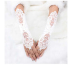 A Pair Bridal White Hand Lace Long Evening Gloves Fingerless Rhinestones Lace US