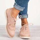 Womens Lace Up Brogues Trainers Flat Pumps Ladies Casual Work Smart Shoes Size
