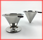 Coffee Dripper Pour Over Cone Double Layer Filter REUSABLE Paperless Mesh Funnel
