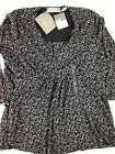 Liz Claiborne Mesh Top Blouse Shirt Womens Petite Large Flowing Lined 3/4 Sleeve