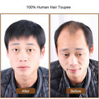 Thin 100 Human Hair Toupee Hairpiece for Men Clip in Top Piece Topper Extension