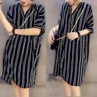 Womens Summer T Shirt Casual Plus Size Short Sleeve Loose Maxi Mini Dress S-5XL