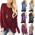 Women's Long Sleeve Knot Tops Ladies Casual Crew Neck Plain T-shirt Loose Blouse
