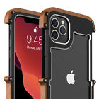Aluminum Metal Wood Bumper Shockproof Stylish Case For Apple iPhone 11 Pro Max
