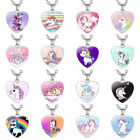 Children Cartoon Cute Unicorn Heart Shaped Pendant Necklace Birthd#jkfs
