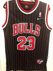NWT #23 Michael Jordan Men's Throwback Chicago Bulls Black Pinstripes Jersey