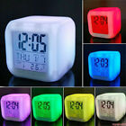 Snooze Alarm Clock Digital LED Thermometer 7 Colors Changing Square Light Night