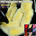 2PCS 11Colors Car SUV Front Seat Cover Winter Australian Sheepskin Fur Long Wool $97.29 USD on eBay