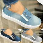 Women's Slip On Flat Denim Canvas Loafers Pumps Casual Trainers Sneakers Shoe