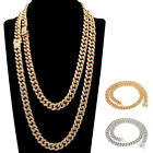 hip hop shine iced out rhinestone yellow gold plated tennis chain mens necklace