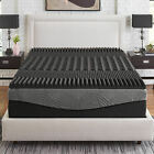 """NEW COOL TEXTURED ULTIMATE MAX CHARCOAL MEMORY FOAM GEL 2.5"""" BED MATTRESS TOPPER image"""