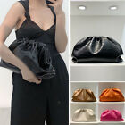 Croc Ruched Real Leather Clutch Pouch Shoulder Bag Crossbody Purse Party Evening