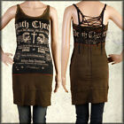 Salvage Death Cheaters Skull Patchwork Corset Women Halter Tank Dress Brown XS-L