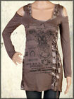 Salvage Medallion Metal Grommet Corset Tie Women LS Cold Shoulder Top Brown XS-S
