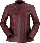 Z!R Women's 410 Leather Motorcycle Jacket DARK RED