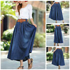 US Women Casual A-line High Waist Long Midi Denim Flare Party Skater Skirt Dress