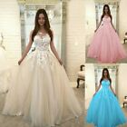 Women Plus Size Floral Lace Wedding Dress Chiffon Evening Party Dress Ball Gown