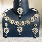 Silver maroon necklace earrings tikka set hijab Indian diamanté bridal prom gift