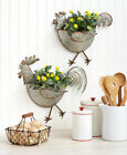 Rooster or Hen or Set Galvanized Metal Wall Planters Indoor Outdoor Farmhouse