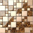 Brushed Copper Gold Effect Stainless Steel Mosaic Wall Tiles Sheet 300x300mm 1m2