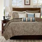 NEW! ~ ELEGANT RICH CHIC BROWN TAUPE BLUE IVORY WHITE GREY SCROLL SOFT QUILT SET image
