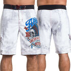 Affliction Motors Indian Chief Skull Headdress Mens Swim Board Short White 30-40