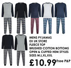 MENS PYJAMAS LONG BOTTOMS FLEECE TOP EX UK STORE M-2XL PJ SET 2PC NIGHT WEAR NEW