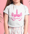 Kids Unicorn T-Shirt Personalised Printing Custom Design Name Text Printed Girls