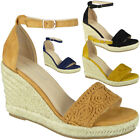 Ladies Wedge Sandals Womens Hessian High Heel Ankle Strap Espadrilles Shoes Size