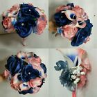 Coral Navy Blue Rose Calla Lily Bridal Wedding Bouquet & Boutonniere
