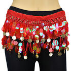 15 PCs Red Gold Milky Sequins Beads Belly Dance Hip Scarf Wrap Chiffon