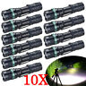10Pcs Police Tactical 90000LM T6 LED 18650 Flashlight Torch Lamp Light Zoomable